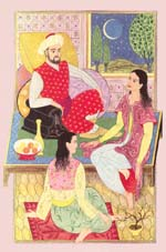 Scheherazade telling her stories to the Sultan and her sister Dinarzade